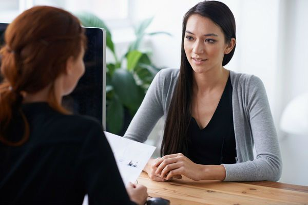 a female student get interviewed