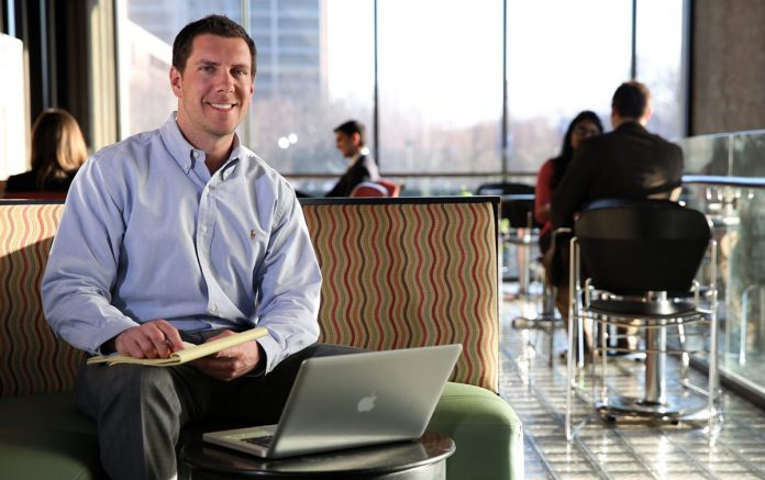 Doctoral student with laptop