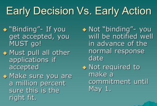 Early Decision and Early Action Comparison