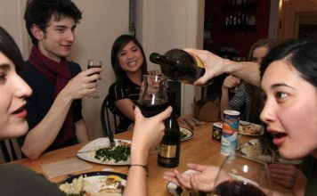 students at party