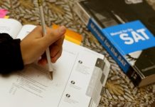 Student studying for SAT test