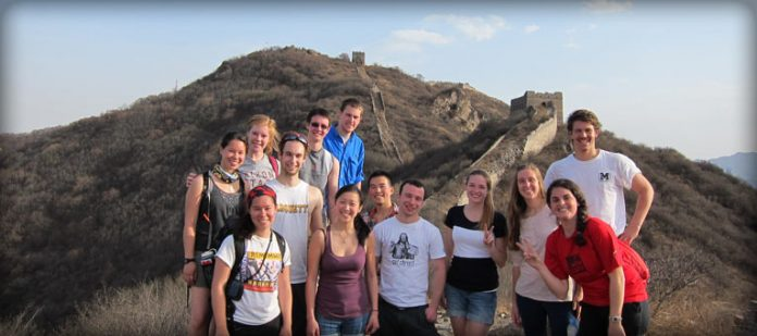 students at great wall, china